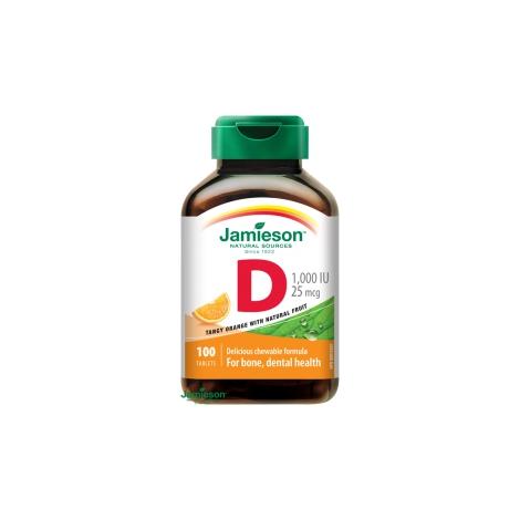 Jamieson Vitamín D3 1000 IU tablety na cmúľanie s príchuťou pomaranča 100 tbl