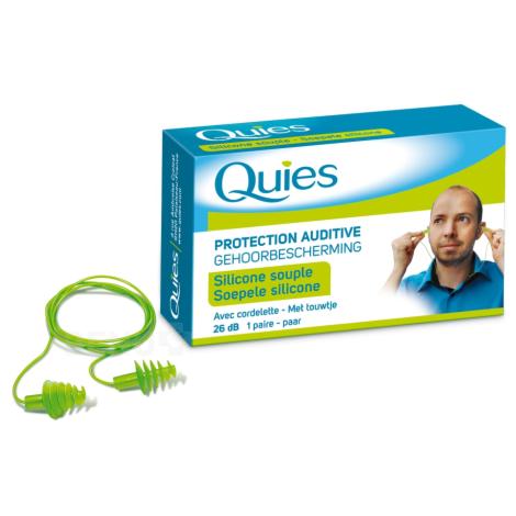 Quies Silikónové chrániče sluchu so šnúrkou 2 ks