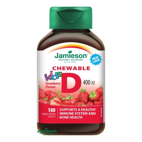 Jamieson Vitamín D3 Kids 400 IU tablety na cmúľanie s príchuťou jahody 100 tbl