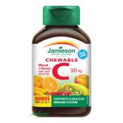 Jamieson Vitamín C 500 mg tablety na cmúľanie mix troch ovocných príchutí 100 + 20 tbl ZDARMA