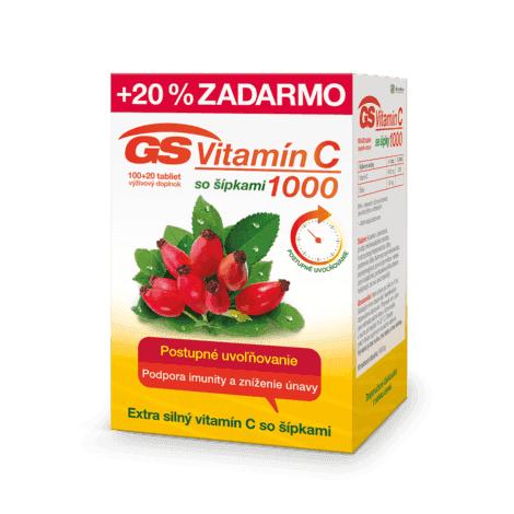 GS Vitamín C 1000 so šípkami 100 + 20 tbl