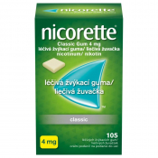 Nicorette Classic gum 4mg žuvačky 105 ks