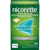 Nicorette Classic gum 2mg nikotínové žuvačky 105 ks