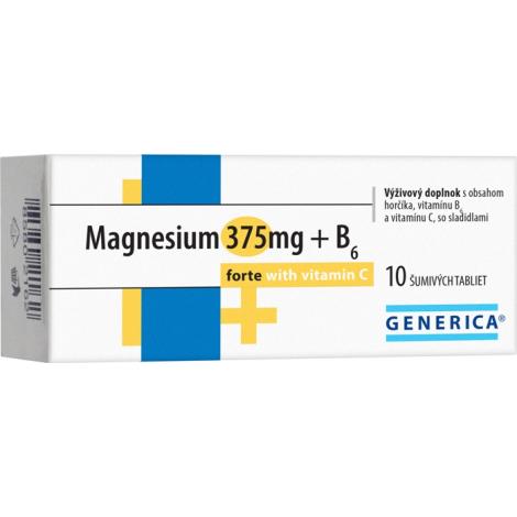 Generica Magnesium 375 mg + B6 forte s vitamínom C eff 10 tbl