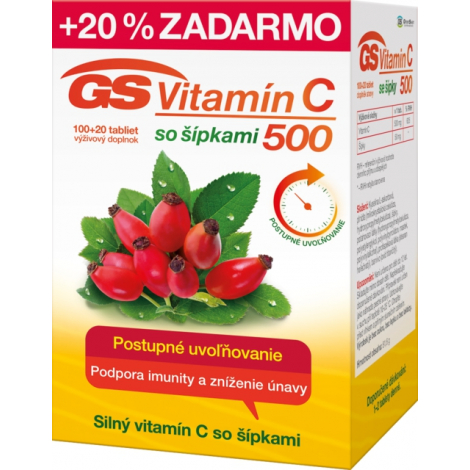 GS Vitamín C 500 mg so šípkami 100 + 20 tbl
